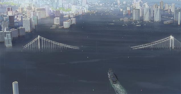 Imagen de Tokyo semisumergido al final de El tiempo contigo. No hay rastro de carreteras y solo la parte superior de los edificios más altos sobresale del agua.